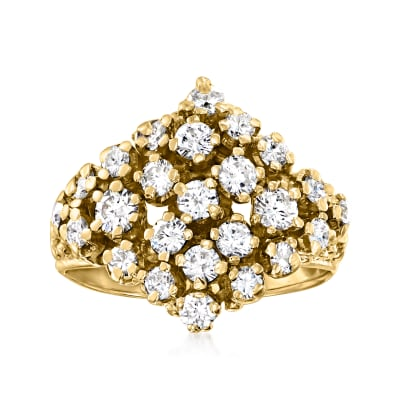 C. 1970 Vintage 1.35 ct. t.w. Diamond Cluster Ring in 14kt Yellow Gold