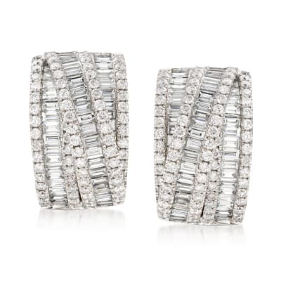 5.20 ct. t.w. Diamond Crisscross Drop Earrings in 14kt White Gold