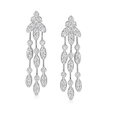 1.79 ct. t.w. Diamond Drop Earrings in 14kt White Gold