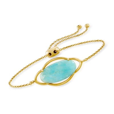 Amazonite Bolo Bracelet in 18kt Gold Over Sterling