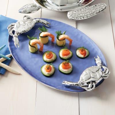 "Mariposa ""High Seas"" Cobalt Blue Crab-Handled Serving Tray"