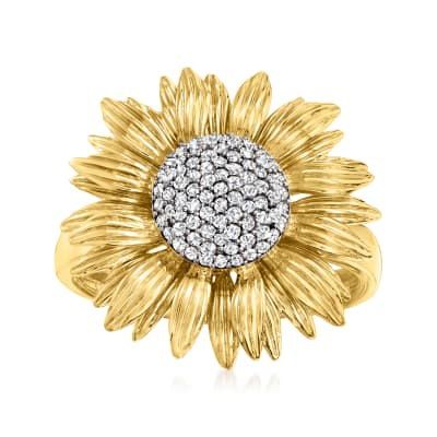 .25 ct. t.w. Diamond Sunflower Ring in 14kt Yellow Gold