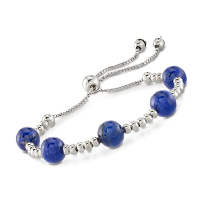 7.5-8mm Lapis Bead Bolo Bracelet in Sterling Silver