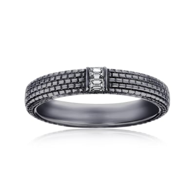 Men's .12 ct. t.w. Diamond Wedding Ring in 14kt White Gold