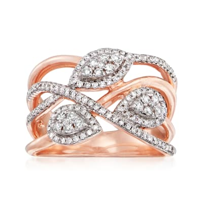 .50 ct. t.w. Diamond Cluster Multi-Row Ring in 14kt Rose Gold