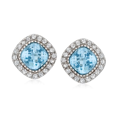 7.00 Carat Sky Blue Topaz and 1.60 ct. t.w. White Topaz Earrings in Sterling Silver