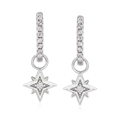 .30 ct. t.w. CZ Starburst Charm Hoop Earrings in Sterling Silver