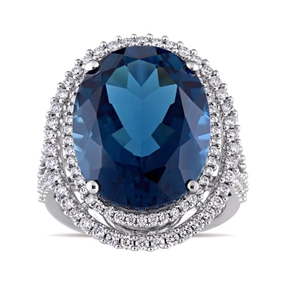 20.00 Carat London Blue Topaz Ring with .93 ct. t.w. Diamonds in 14kt White Gold