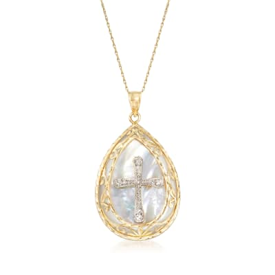 Mother-Of-Pearl Cross Pendant Necklace in 14kt Two-Tone Gold