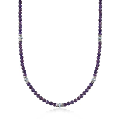 100.00 ct. t.w. Amethyst and 2.00 ct. t.w. Swiss Blue Topaz Bead Necklace in Sterling Silver