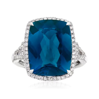 12.00 Carat London Blue Topaz and .41 ct. t.w. Diamond Ring in 14kt White Gold