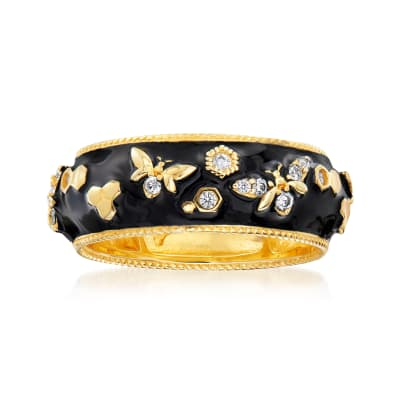 .30 ct. t.w. White Topaz and Black Enamel Bumblebee Ring in 18kt Gold Over Sterling