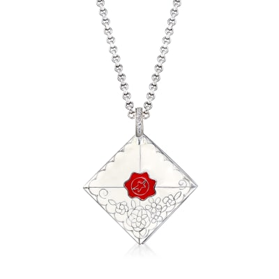 """Belle Etoile """"Love Letter"""" White Enamel Pendant with CZ Accents in Sterling Silver"""