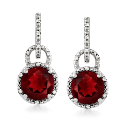 4.76 ct. t.w. Garnet and .11 ct. t.w. Diamond Drop Earrings in Sterling Silver