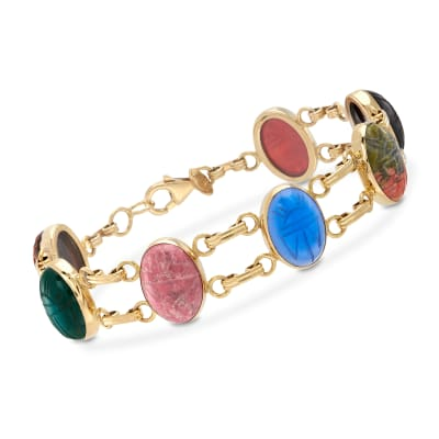 Multi-Gemstone Scarab Bracelet in 18kt Gold Over Sterling