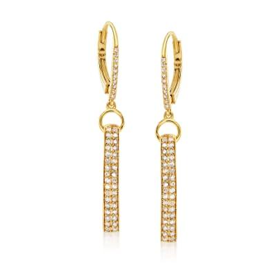 .50 ct. t.w. Diamond Loop Drop Earrings in 18kt Gold Over Sterling