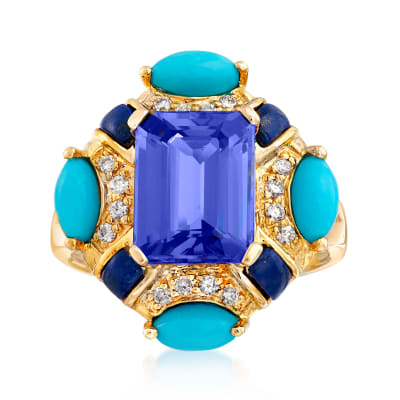 3.10 Carat Tanzanite, Turquoise and Lapis Ring with .13 ct. t.w. Diamonds in 14kt Yellow Gold