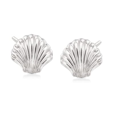 14kt White Gold Scalloped Seashell Earrings