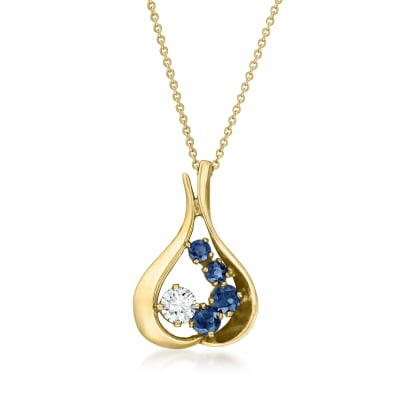 C. 1990 Vintage .50 Carat Diamond and .90 ct. t.w. Sapphire Pendant Necklace in 14kt Yellow Gold