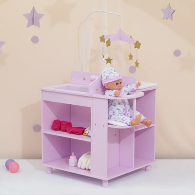 """Child's """"Twinkle Stars Princess"""" Baby Doll Changing Station with Storage"""