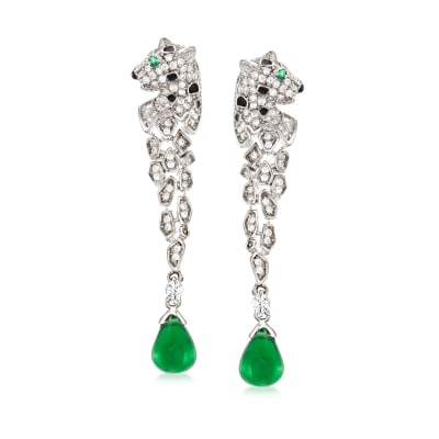 3.70 ct. t.w. Simulated Emerald and .80 ct. t.w. CZ Leopard Drop Earrings in Sterling Silver