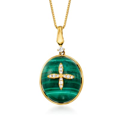 Malachite Pendant Necklace with Diamond Accents in 14kt Yellow Gold
