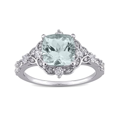 2.10 Carat Aquamarine and .40 ct. t.w. White Sapphire Ring with Diamond Accents in 14kt White Gold