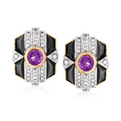 .80 ct. t.w. Amethyst and .20 ct. t.w. White Topaz Earrings in 18kt Gold Over Sterling