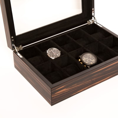 Brouk & Co. Matte Ebony Wooden 10-Watch Holder
