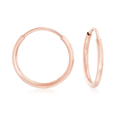 1mm 14kt Rose Gold Endless Hoop Earrings