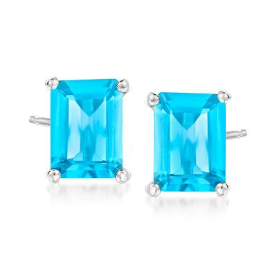 3.04 ct. t.w. Swiss Blue Topaz Earrings in Sterling Silver