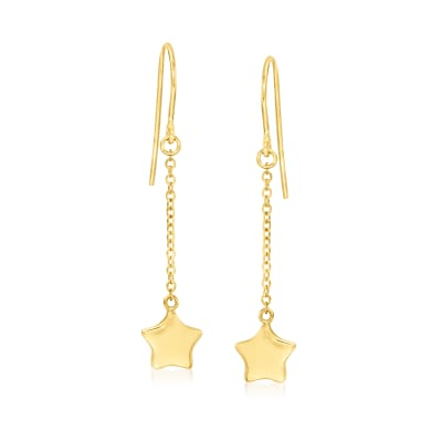 14kt Yellow Gold Star Drop Earrings