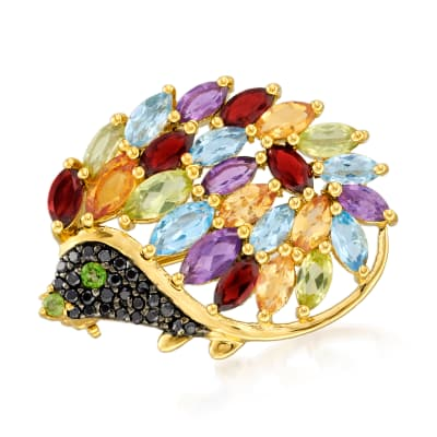 4.07 ct. t.w. Multi-Gemstone Hedgehog Pin in 18kt Gold Over Sterling