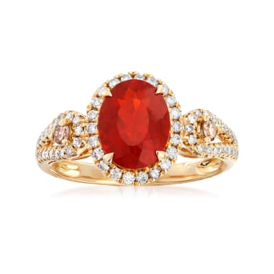 Fire Opal and .48 ct. t.w. Diamond Ring in 14kt Yellow Gold