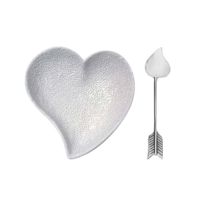 "Mariposa ""First Comes Love"" Ceramic Heart Dish and Arrow Spoon Set"