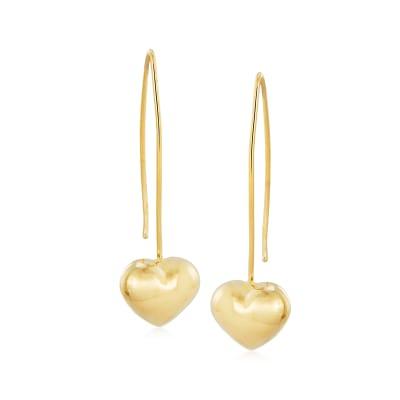 Italian 14kt Yellow Gold Heart Drop Earrings