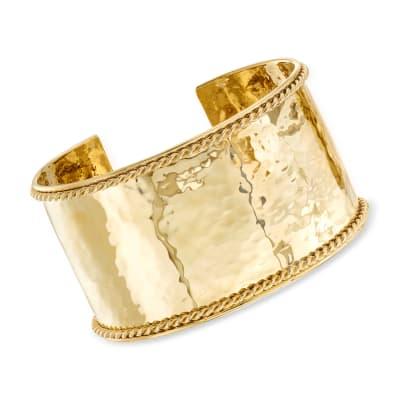 "Phillip Gavriel ""Italian Cable"" Large Cuff Bracelet in 14kt Yellow Gold"