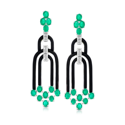 5.50 ct. t.w. Emerald and .60 ct. t.w. Diamond Drop Earrings with Black Agate in 18kt White Gold