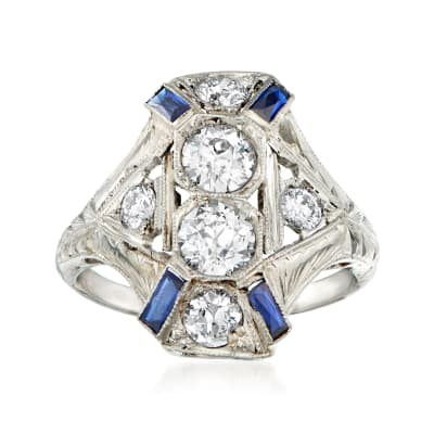C. 1950 Vintage 1.28 ct. t.w. Diamond and .30 ct. t.w. Synthetic Sapphire Cocktail Ring in 18kt White Gold