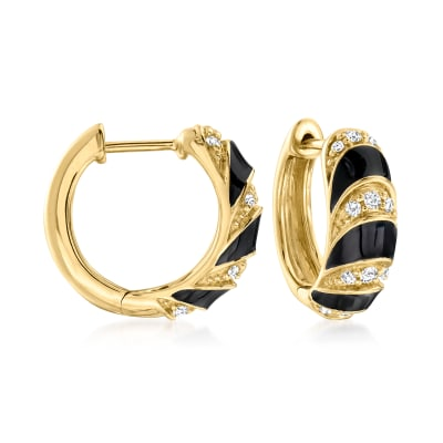 Black Enamel and .25 ct. t.w. Diamond Hoop Earrings in 18kt Gold Over Sterling