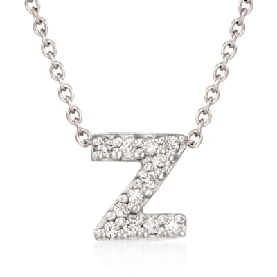 "Roberto Coin ""Love Letter"" Diamond Accent Initial ""Z"" Necklace in 18kt White Gold"