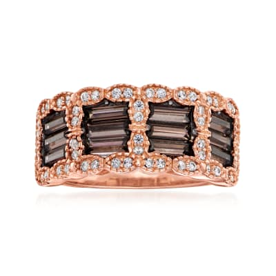 1.80 ct. t.w. Brown and White CZ Ring in 18kt Rose Gold Over Sterling