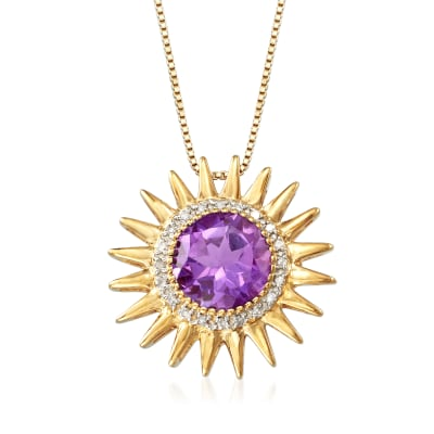 2.50 Carat Amethyst and .10 ct. t.w. Diamond Sun Pendant Necklace in 18kt Gold Over Sterling