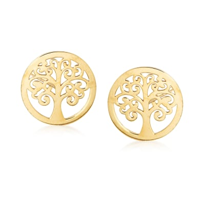Italian 14kt Yellow Gold Tree of Life Stud Earrings