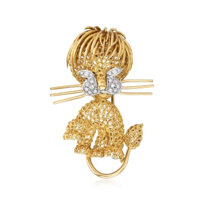 C. 1980 Vintage Piero Milano .25 ct. t.w. Diamond Lion Pin in 18kt Yellow Gold