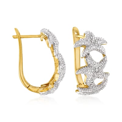 .20 ct. t.w. Diamond Starfish Hoop Earrings in Sterling Silver and 18kt Gold Over Sterling