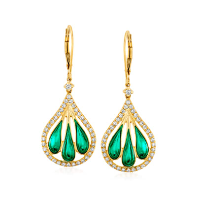 .90 ct. t.w. Diamond and Green Enamel Fan Drop Earrings in 14kt Yellow Gold