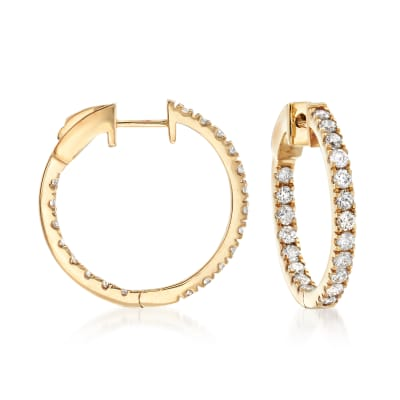 1.50 ct. t.w. Diamond Inside-Outside Hoop Earrings in 14kt Yellow Gold
