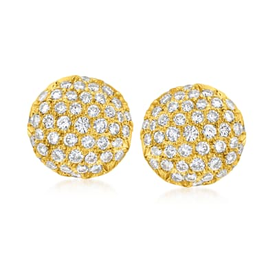 C. 1980 Vintage 1.75 ct. t.w. Diamond Button Earrings in 14kt and 18kt Yellow Gold