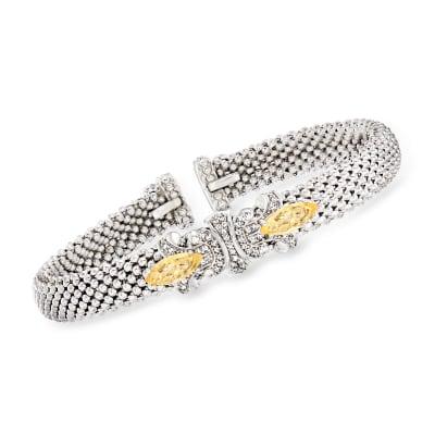 "Philip Gavriel ""Popcorn"" .60 ct. t.w. Citrine and .22 ct. t.w. Diamond Fleur-De-Lis Cuff Bracelet in Sterling Silver"